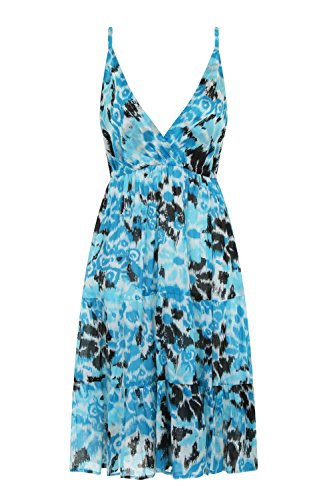 Femmes Pistachio Floral Ou Imprimé Aztèque Midi Femmes Coton Robe Bretelle Bleu Animal
