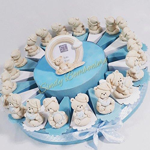 Torta bomboniera orsetti sole luna stella effetto porcellana battesimo nascita bimbo (torta da 60 fette)