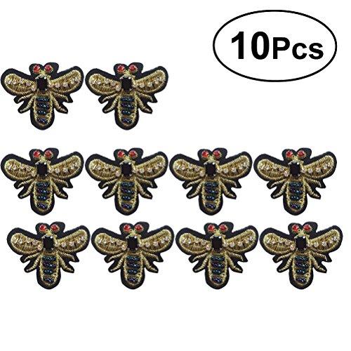Vosarea Patch Sticker Golden Biene Perlen Strass DIY Kleidung Patches Aufkleber 10 Stück -