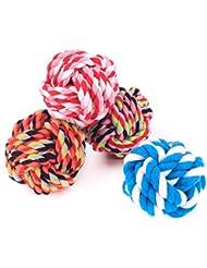 Ecloud Shop® 6pcs mascotas gatos y perros de cuerda de algodón juguetes de mascota de algodón bola de cuerda bola tejida bola de pelota de algodón tejida a mano (medio) (color al azar)