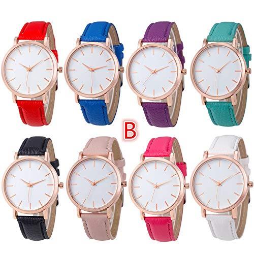 Altsommer Bunter Farben Lederarmband Uhren mit Weiße Zifferblatt, Frauen Uhren mit 22cm Bandlänge für Damen Herren Leder Armband,Quartz Analog Uhren,Casual Sport Lederarmband Uhr (Lila)