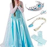 Timesun® Mädchen Prinzessin Schneeflocke Süßer Ausschnitt Kleid Kostüme mit Diadem, Handschuhen, Zauberstab und Zopf, Gr. 98/140 (100 ( Körpergröße 100cm ), #03 kleid mit 4 Zubehör)