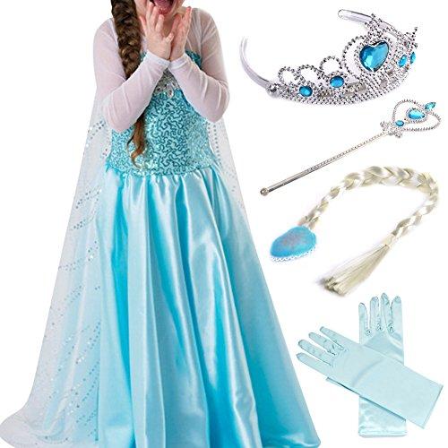 Timesun® Mädchen Prinzessin Schneeflocke Süßer Ausschnitt Kleid Kostüme mit Diadem, Handschuhen, Zauberstab und Zopf, Gr. 98/140 (140 ( Körpergröße 140cm ), #03 kleid mit 4 Zubehör)