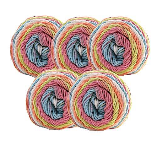 GloBal Mai Häkeln Garn Set-5 * 100g Strickgarn für handgemachte DIY Woven Schal Kissen Decke Material, Baumwolle, bunt (19) -