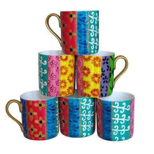 Juego de Seis Tazas Grandes de Café, fina porcelana de hueso blanca (