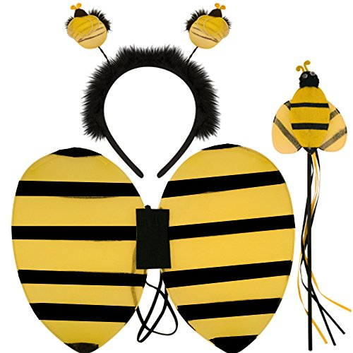 German Trendseller® - Bienen - Set ┃ Flügel + Fühler + Zepter ┃ Kostüm Set ┃ Honig Sammler ┃ Karneval / Fasching (Honig Biene Kostüm Kind)