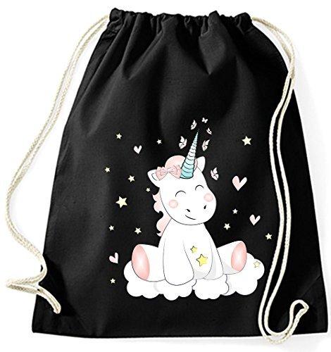 Jutebeutel Turnbeutel Sportbeutel Stofftasche Baumwolltasche Tasche Rucksack mit Kordel Cotton Gymsack Unicorn Einhorn cutie (Royal Blau) Schwarz