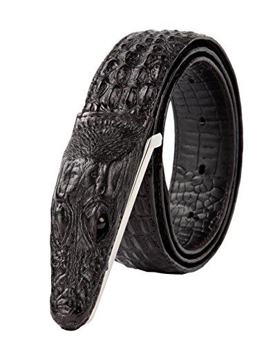 CUKKE Herren Echtes Büffel Leder Gürtel mit Schlupf Schnalle Jeans Hose Gürte l Voellig verstellbar 35mm Schwarz 120cm (Weiß Hermes Gürtel Für Männer)