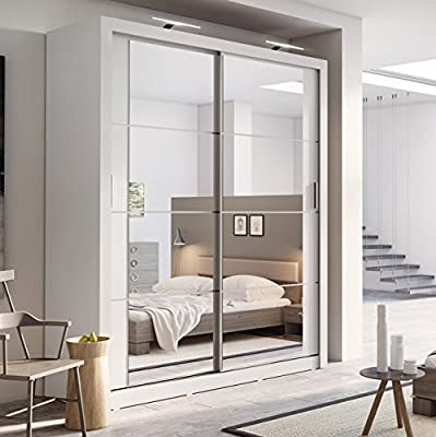Brand New Modern Bedroom Mirror Sliding Door Wardrobe Arti 3 in Matt White 180cm sold by Arthauss