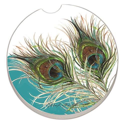 Counter Art Absorbent Stoneware Car Coaster, Elegant Peacock - Car Coaster