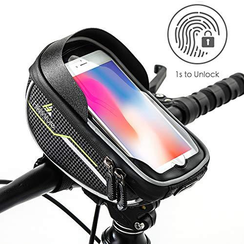 Hikenture® Fahrrad Lenkertasche mit Touch Entsperrung, wasserdichte Fahrradtasche mit Sensitivem TPU-Touchscreen, Rahmentasche Handyhalterung Fahrrad, Handyhalter Geeignet für Smartphones bis 6 Zoll