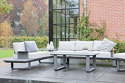 lifestyle4living Gartenlounge aus Aluminium in Anthrazit, Loungegarnitur mit Sitzecke inkl. 10 Kissen, 3 teiliges Loungeset ist der Eyecatcher für jeden Außenbereich