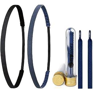 Ivybands ® & IVYLACES ® | Black Blue Edition I | Haarband & Schnürsenkel Set | Blau Schwarz Haarbänder | IVY003 501 ILACE051