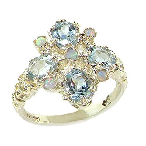 Luxury Ladies Victorian Style Solid Hallmarked Sterling Silver Natural Aquamarine & Fiery Opal Ring - Size N 1/2 - Finger Sizes K to Z Available - Ideal gift for for Christmas, Birthday, Valentines or Mothers