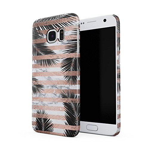 Palm Leaves Under White Marble & Rose Gold Stripes Dünne Rückschale aus Hartplastik für Samsung Galaxy S7 Handy Hülle Schutzhülle Slim Fit Case cover (White Palm Leaf)