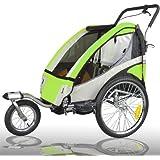 Remolque de bici para niños completamente amortiguado con kit de footing, color: LEMON 504S-02