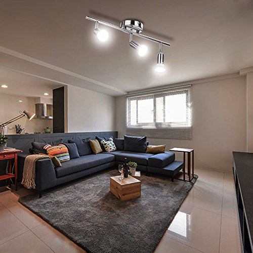 Homdox - Plafoniera con faretti a LED orientabili, per salotti, camere da  letto, camerette, [classe energetica A+] 3-Flamming