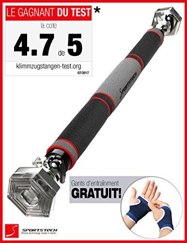 Innovation du marché en 2017 Barre de traction avec système hexagonal breveté par Sportstech. KS200 - avec levier de tension de sécurité, 6 points de pression et design exceptionnel, gants inclus (argent)