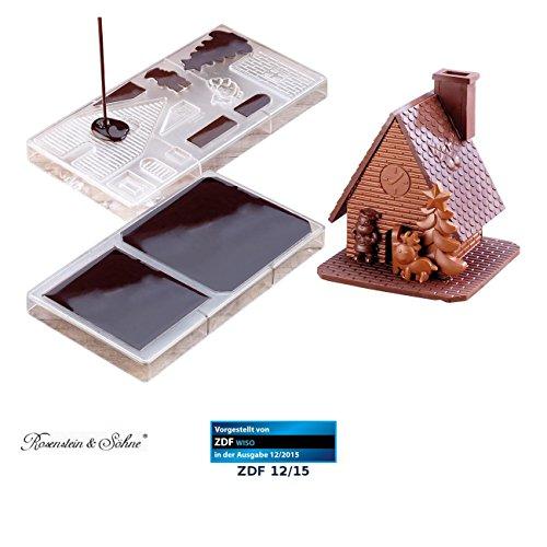 """Rosenstein & Söhne Schokohaus: 3D Schokoladen-Gussformen-Set\""""Weihnachtshaus\"""" (Gießform)"""