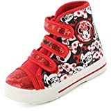 Minnie Mouse Spirit Canvas Hi Top Girls Trainers - Red (6,7,8,9,10,11,12)