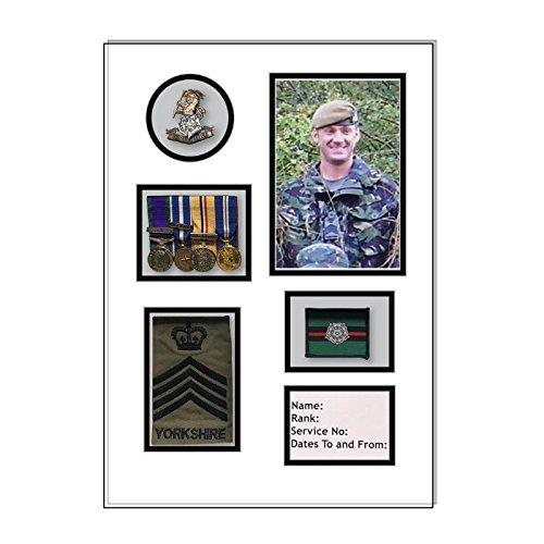 Kwik Picture Framing Ltd Yorkshire Regiment Medal Frame, Cap Badge and war Medal Display Frame White Mount - White Frame