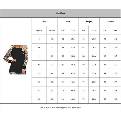 Juleya Ladies Chemise à manches longues - Léopard classique imprimé Femme Blouse Basic Pull décontracté pour l'automne et l'hiver Noir / Blanc / Violet / Gris Blanc