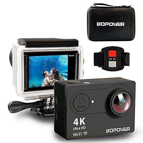 GooBang Doo Caméra d'Action Sport 4K Ultra HD Wifi Étanche Mini Caméscope Sportive avec Kit d'Accessoires Télécommande 2 Batteries Rechargeables
