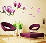 Wandsticker4U- Wandtattoo Blumen 'Magnolia' lila | Effektbild: 150x55cm | Wandsticker Wandbild Aufkleber Magnolie Blüte Deko für Wohnzimmer, Schlafzimmer, Badezimmer, Garderobe, Küche