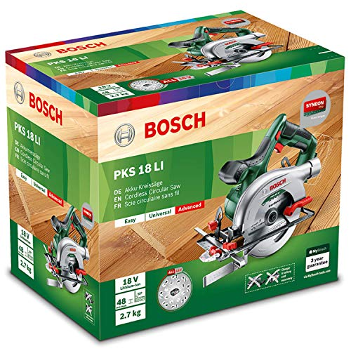 Bosch 18V Akku Kreissäge PKS 18 LI ohne Akku, Sägeblatt, Parallelanschlag, Karton (18 Volt System) - 8