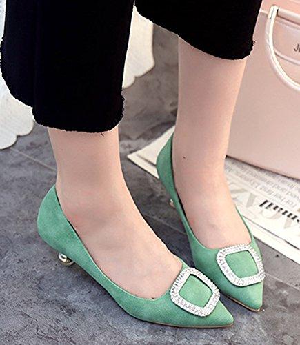 Aisun Femme Original Strass Fermeture à Enfiler Escarpins Vert