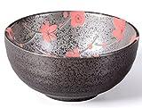 Matcha Schale/Matcha Teeschale 250ml anthrazit/rot, Blütendesign, gesprenkelt, Original Aricola®