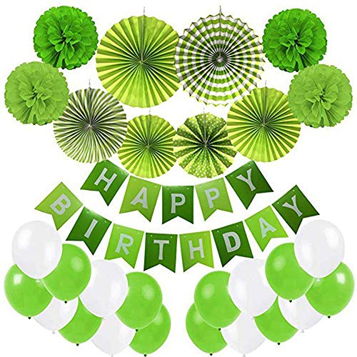 Geburtstagsparty Dekoartikel, Happy Birthday Banner Bunting, 6 Papier Fans Tissue, 4 Papier Pom Poms Blume, 20 Ballons - Grün und Weiß