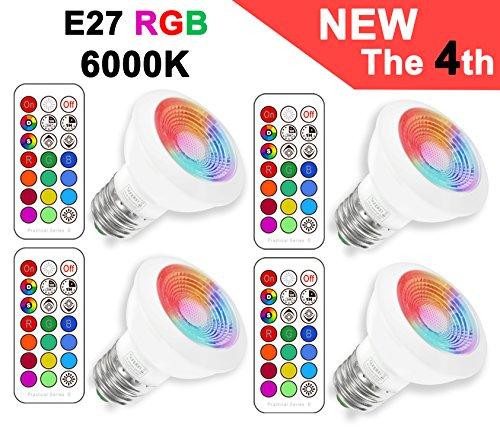 Sunpion (4 pack) rgbw lampada bulbo a led, 3w e27+6000k orientabile faretti cambia colore led lampadina bulbo,celebration per natale,per decorazione con ir telecomando