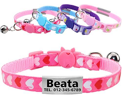 Katzenhalsband mit sicherheitsverschluss, Personalisiert Halsband für Katzen mit Namen adresse, katzenhalsbänder mit Glocke, Entzückende Halskette für Kätzchen und Hündchen 18-25cm Pink (Glocke Katze Personalisierte Mit Halsband)