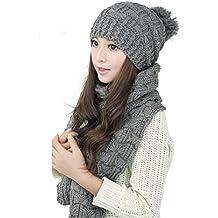 Malloom 1set mujer cálida capucha tejido lana mantón de la bufanda + gorras sombreros traje (gris)