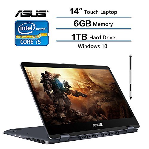2018 Neueste Flaggschiff ASUS VivoBook Flip 35,6 cm 2-in-1 Touchscreen Laptop, 35,6 cm FHD (1920 x 1080), Intel Core i5–7200U 2,5 GHz, 6 GB RAM, 1 TB HDD, Windows 10 Home W/Ink Pen