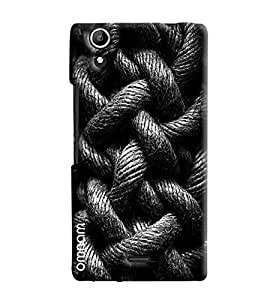 Omnam Black And White Rope Bundle Effect Printed Designer Back Cover Case For Micromax Selfie 2 Q340