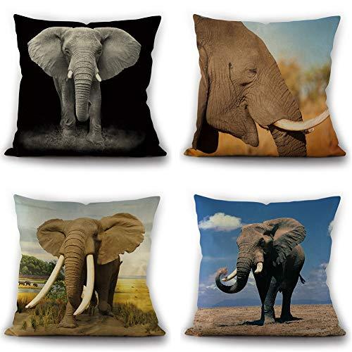 Hfudgj Elefante Poliéster Funda de cojín Estilo Indio 18 x 18 Pulgadas Carcasa de Almohada Decorativa para el hogar de afecto Animal para sofá, Juego de 4,E