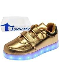 [Present:kleines Handtuch]Schwarz EU 28, Farbwechsel LED Mädchen Schuhe Turnschuhe USB-Lade Schuhe Blinken Kinder Leuchtend JUNGLEST® Sportsschuhe wei