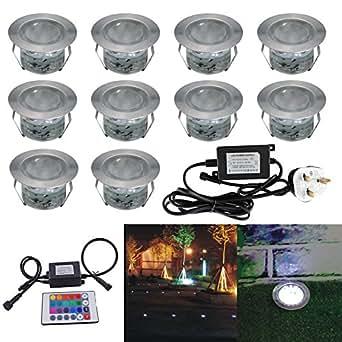 Led rgb decking lights kit stainless steel waterproof led for Garden decking kits b q