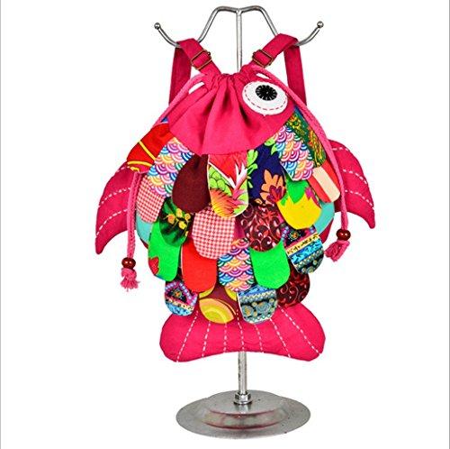 Yunnan Longlove caratteristiche etnico realizzato a mano, in borsa a tracolla, motivo: Gattino e pesce, personaggio dei cartoni animati, Zaino Multicolore (Red water)