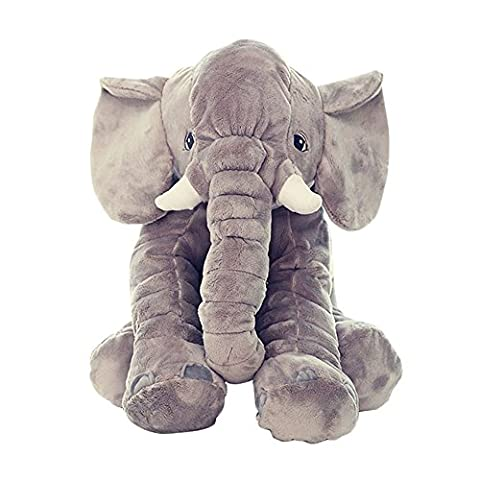 Baby Infant Elephant Pillows Soft Plush Toys Kids Sleep Support Pillows 40cm * 37cm * 25cm (Gray)