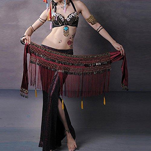 Byjia Dance accessories Frauen Taille Kette Handgemachte Ägypten Bauchtanz Hüfttuch Tribal Schals Wrap Tribal Quasten Münze Leistung Nation Rock Gürtel Red One Size