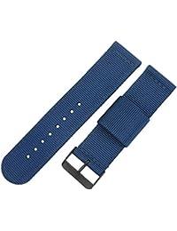 reloj de nylon bandas correas estilo de la NATO de grado superior 24mm reemplazos para los hombres azul ocasional militar duradera
