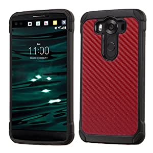 LG V10 Case, Rock Me Wireless (TM) 2 items Bundle - 24K Gold Plating Sticker and Dual Layers Hybrid Protector Case Cover. (Carbon Fiber / Red - Dual)