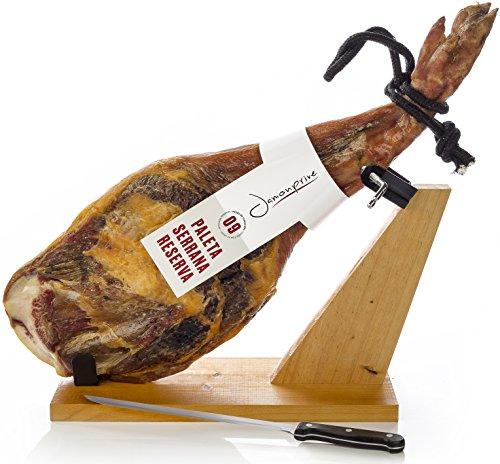 Prosciutto spagnolo serrano (spalla) riserva semidisossato 4-4.5 kg + porta prosciutto + coltello | jamon serrano