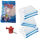 Nice Life Silicone Space Saver Vacuum Seal Clothes Storage Organiser Bags with Electric Air Pump(Transparent,NLVB6BWP)-Set of 6