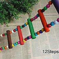Wildlead Escalera de Escalada de Loro Columpio de Madera Puente de Jaula de pájaro Juguete Colgante para Conures Cockatiel Budgie
