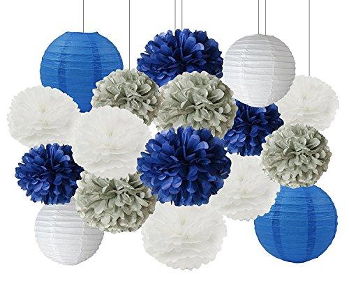 Furuix 16 Stück Weiß Navy Blau Grau 10inch 8inch Tissue Papier Pom Pom Papier Laternen Gemischte Paket für Blue Themed Party Braut Dusche Dekor Baby Dusche Dekoration (White Navy Blue) Leuchten Für Mittelstücke