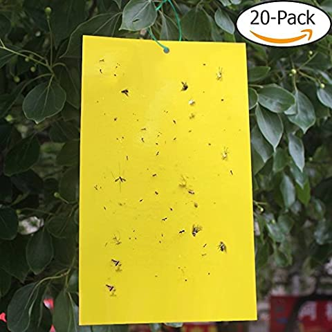 Garden Fly Traps Yellow Dual-sticky Board Aphids, Fungus Gnats, Leaf Miners, White Flies Fruit Flies Catcher Killer Pest Insect Repellent for Plant, Flower, Fruits, Greenhouse ,20Packs